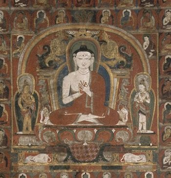 Detail of Vairocana Buddha thangka painted with mineral pigments on cloth