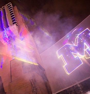 Celebratory Light Show on Campus