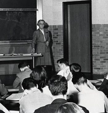 Photograph of Margaret Elliott Tracy giving lecture