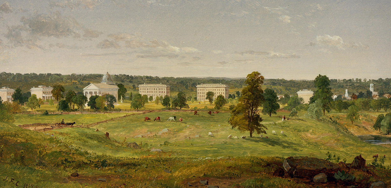 A view of U-M's campus painted by Jasper Francis Cropsey in 1855