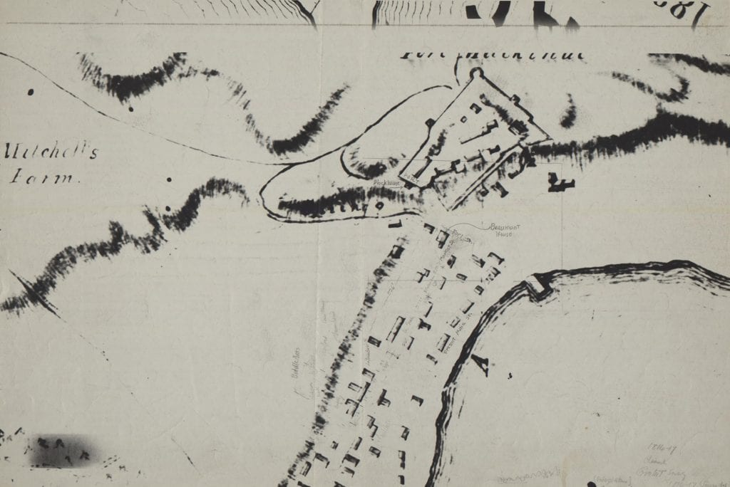 Annotated photostat enlargement of portion of the Map of the Island of Michilimackinac