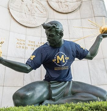 The Spirit of Detroit statue wearing Bicentennial Tshirt
