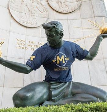 The Spirit of Detroit statue wearing Bicentennial Tshirt