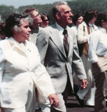 Jean Ledwith King marches with her husband in this undated photo.