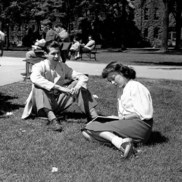 Students study on the lawn