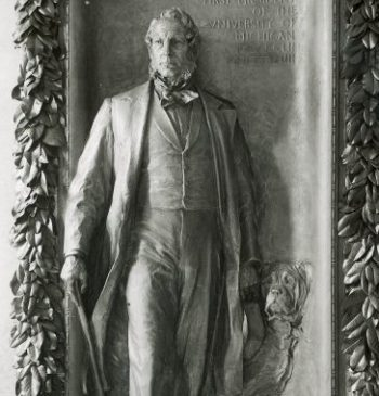Henry Tappan and his dog Leo - bas releif