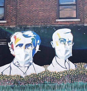 Michigan Today image of Ann Arbor mural with face masks