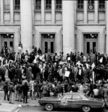 Protest on U-M's campus, March 1970